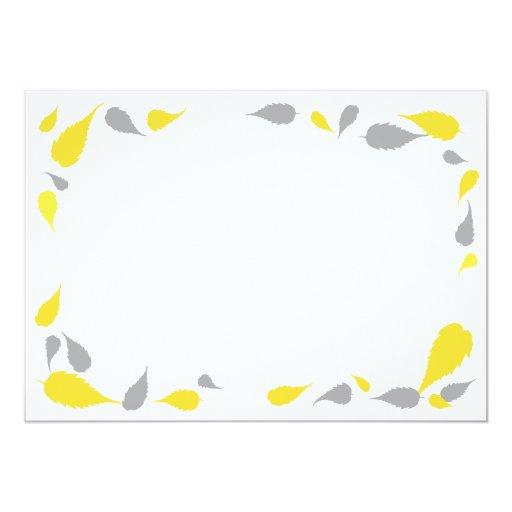 "5"" x 7"" yellow  gray leaves blank card 5"" x 7"" invitation"