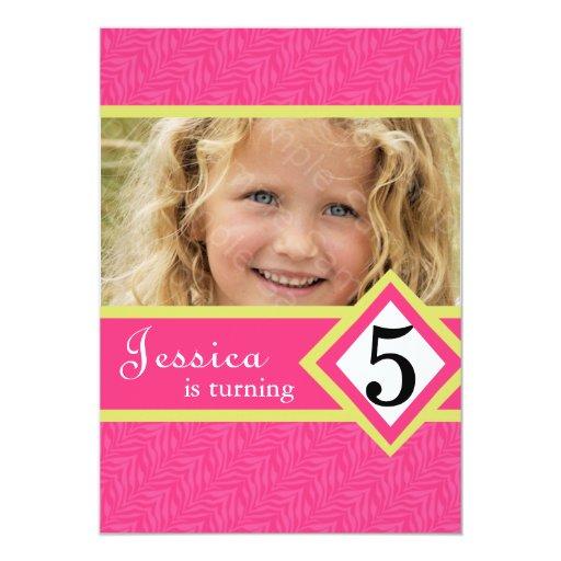 """5 Year Old Birthday Party Invitations Zebra GIRL 5"""" X 7"""