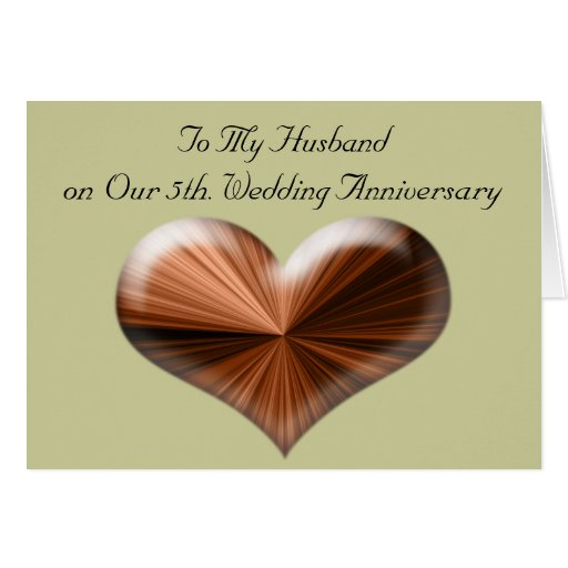 5th Wedding Anniversary Gift Ideas For Husband: 5th Wedding Anniversary To My Husband Card