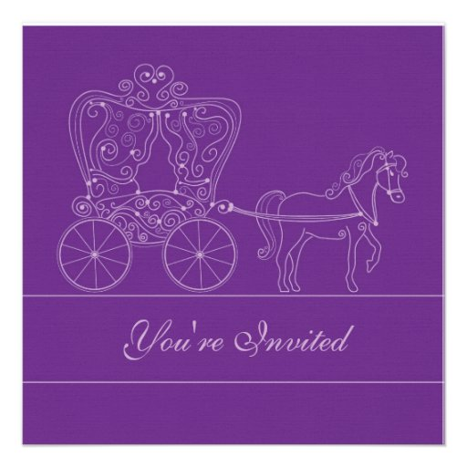 "Dark Purple Wedding Invitations: 5x5 Dark Purple Carriage Wedding Invitation 5.25"" Square"