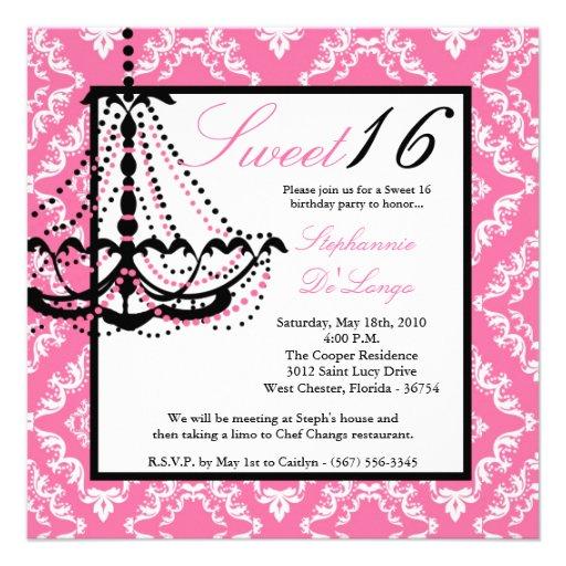 5x5 Pink Chandelier Sweet 16 Birthday Invitation 5.25
