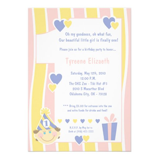 """5x7 Girly One 1 Year Old Birthday Party Invitation 5"""" X 7"""