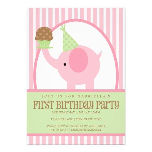 "5x7 Pink Elephant Birthday Invitation 5"" X 7"" Invitation"