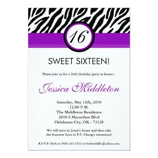 5x7 Purple Zebra Print 16th Birthday Invitation | Zazzle