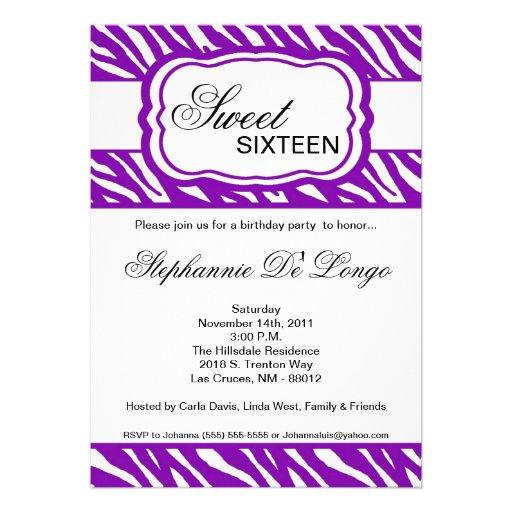 5x7 Purple Zebra Print Birthday Party Invitation | Zazzle