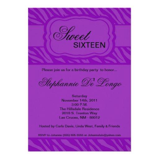 "5x7 Purple Zebra Print Birthday Party Invitation 5"" X 7 ..."