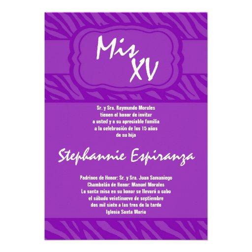 5x7 Purple Zebra Print Quinceanera 15 Invitation | Zazzle