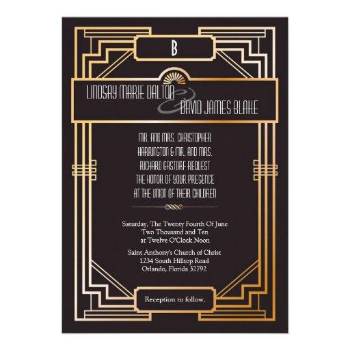 5x7 Wedding Invitation Gatsby Theme 5 Quot X 7 Quot Invitation