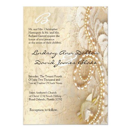Pearl And Lace Wedding Invitations: 5x7 Wedding Invitation Pearl & Lace
