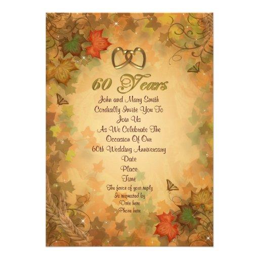 "Fall Wedding Anniversary Ideas: 60th Anniversary Party Invitation Fall Leaves 5"" X 7"