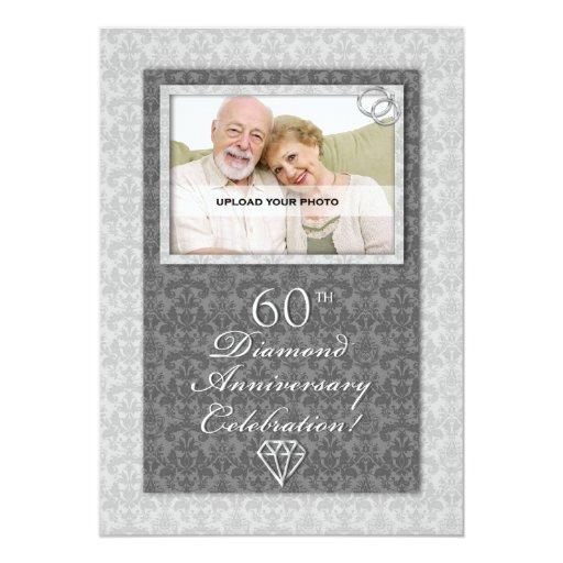 Diamond Wedding Invitation Label: 60th Diamond Wedding Anniversary Party Invitations