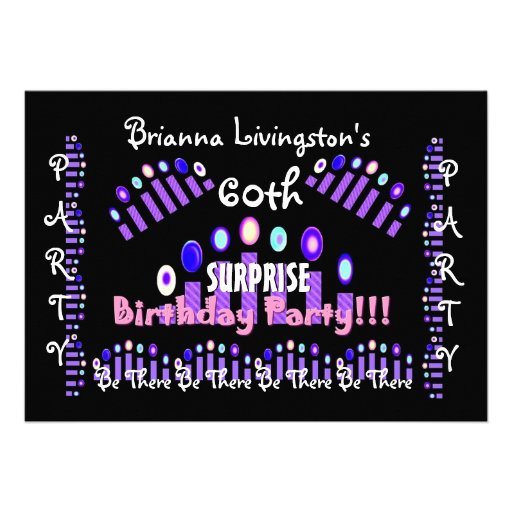 "60th SURPRISE Birthday Party Candles Invitation 5"" X 7"