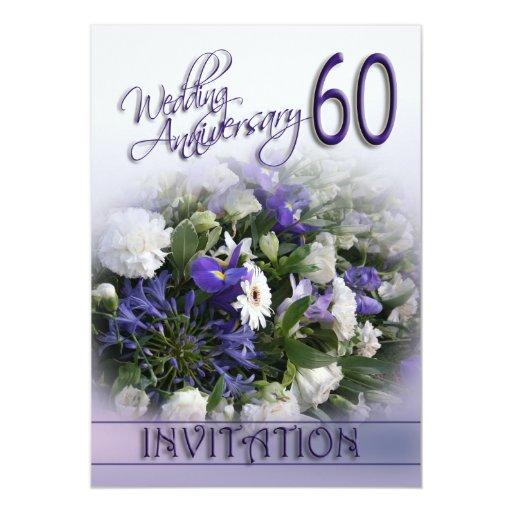 Wedding Anniversary Flower: 60th Wedding Anniversary Invitation Blue Flowers