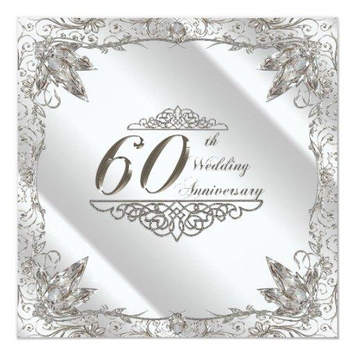 Diamond Wedding Invitation Label: 60th Wedding Anniversary Invitation Card