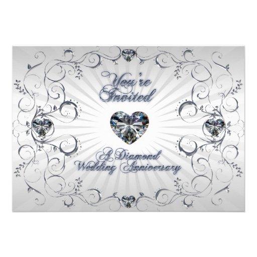 "60th wedding anniversary invitation card 5"" x 7"