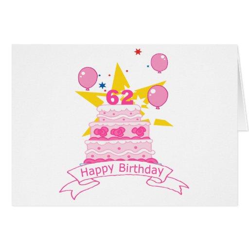 62 Year Old Birthday Cake Greeting Card