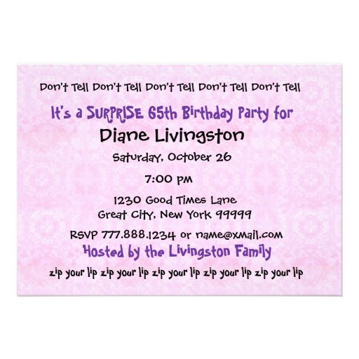 65th SURPRISE Purple Birthday Party Template Personalized Invitation Back Side