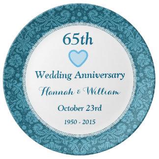 65th wedding anniversary blue damask and lace m05c marylandchinaplate r4461882ce6ab457b9ad691831766adad z77n5 324 - Traditional 65th Wedding Anniversary Gifts