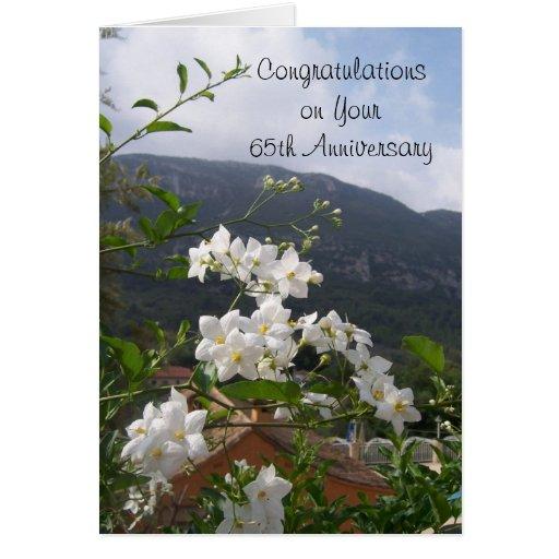 65th Wedding Anniversary Jasmine Greeting Cards