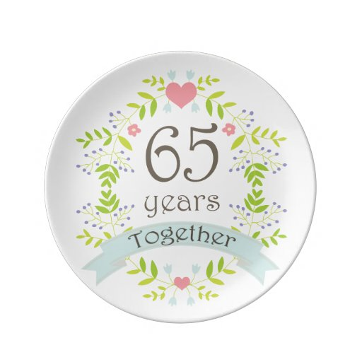 Gifts For 65th Wedding Anniversary: 65th Wedding Anniversary Keepsake Gift Porcelain Plate