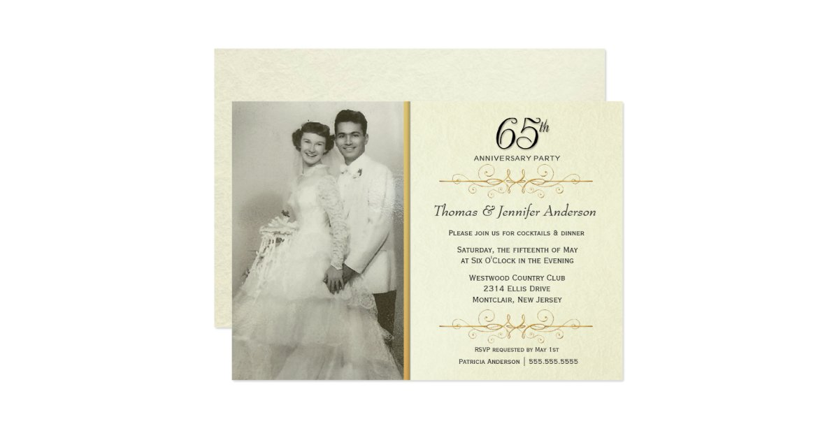 65th Wedding Anniversary Gift Ideas: 65th Wedding Anniversary Party Invitations