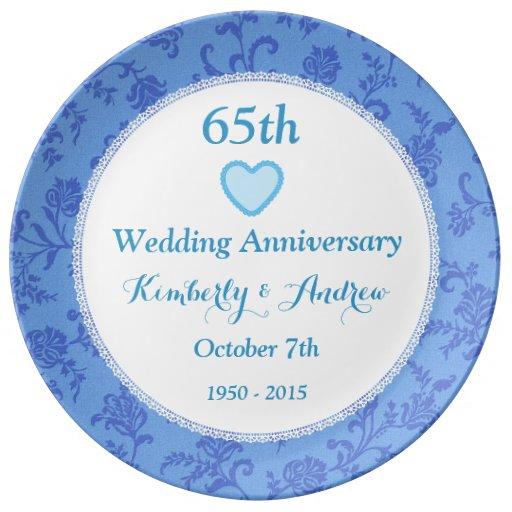 65th Wedding Anniversary SKY BLUE Damask W65A Porcelain