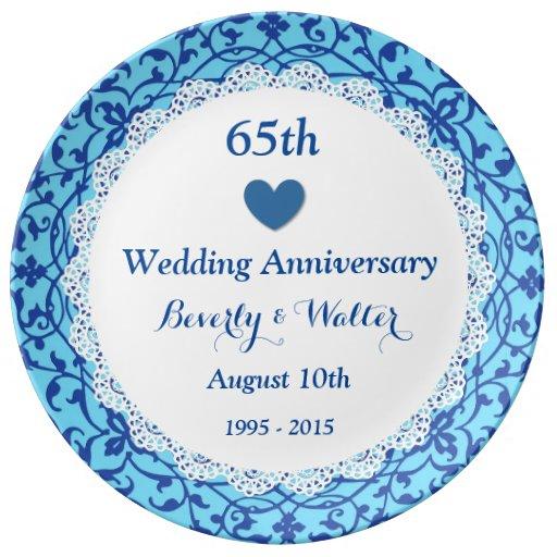 65th Wedding Anniversary Sky Blue Vines B07 Dinner Plate