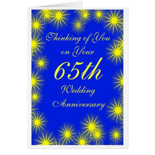 65th Wedding Anniversary Yellow Stars Card