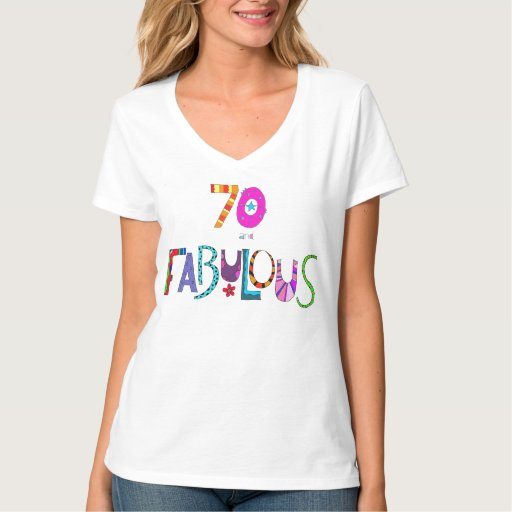 Fab At 70: 70 And Fabulous Birthday Colorful Design Lettering T-Shirt