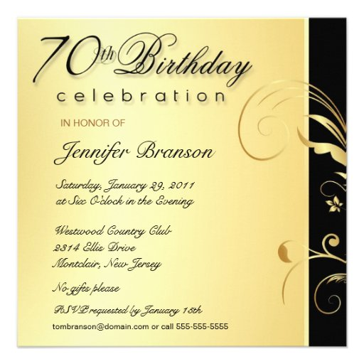 Most Popular 70th Birthday Party Invitations