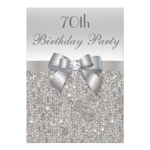 70th Birthday Party Silver Sequins Bow Diamond Personalized Invite
