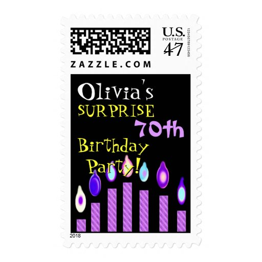 70th SURPRISE Birthday Invitation Purple Candles Postage