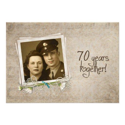 "70 Year Wedding Anniversary Gifts: 70th Wedding Anniversary Open House 5"" X 7"" Invitation"