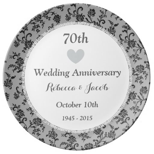 70th Wedding Anniversary Gift: 70th Wedding Anniversary PLATINUM Damask W70A Porcelain
