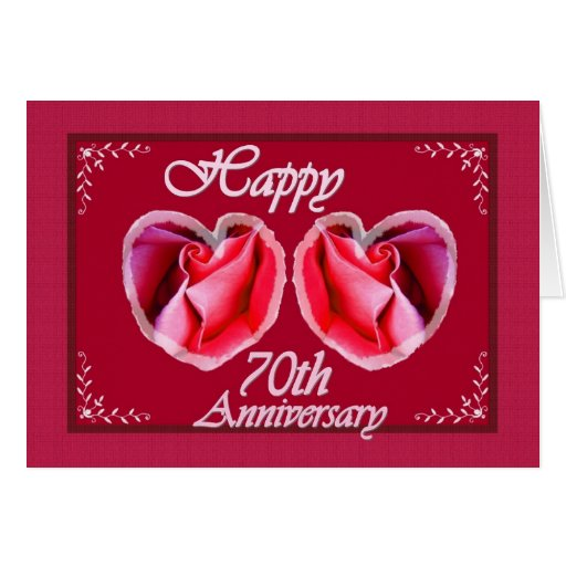 70th Wedding Anniversary Gift: 70th Wedding Anniversary Two Rose Hearts Card