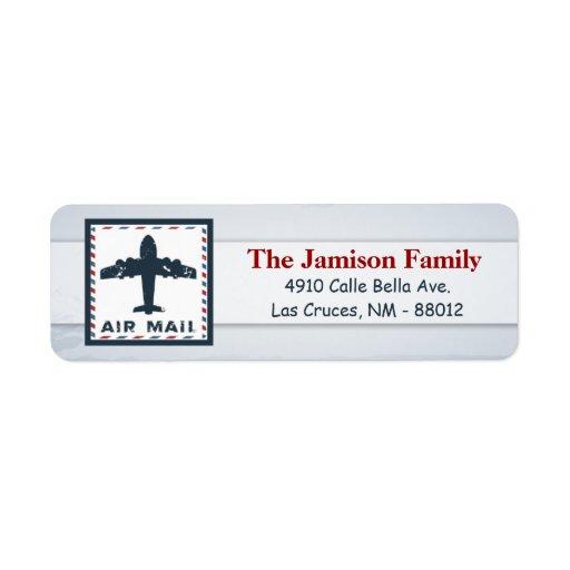".75""x2.25"" Return Address Label Air Mail Plane USP"