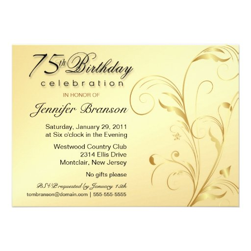 Personalized 75th Birthday Invitations Custominvitations4u Com
