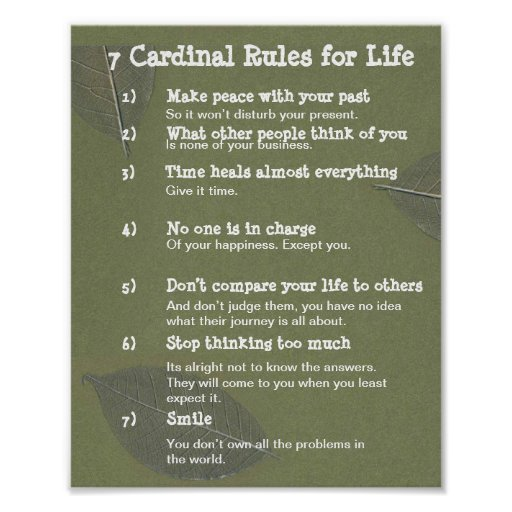 Cardinal Rules For Life Poster R Be Df D D Ea Daab F C Wva Byvr