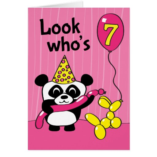 7th Birthday - Girl Panda With Balloons Greeting Card