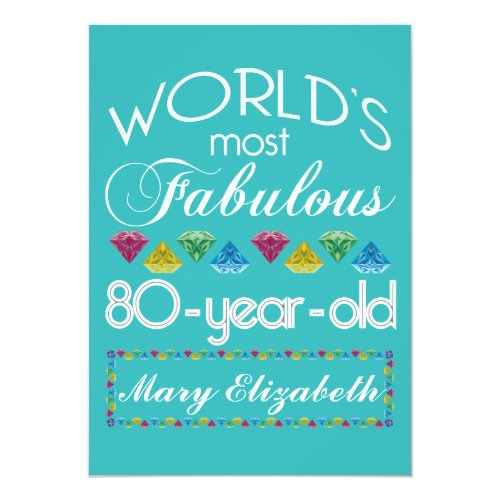 Complement For 80th Birthday 80 Years Old Celebration Fabulous Milestone Year Senior Citizen Gems Colorful