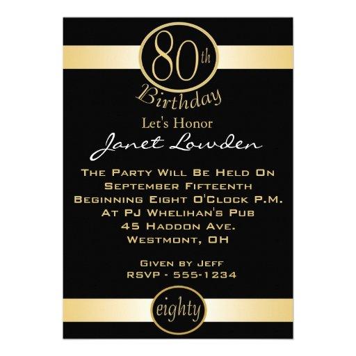 Rlvzcache 80th Birthday Party Invitations Ra0