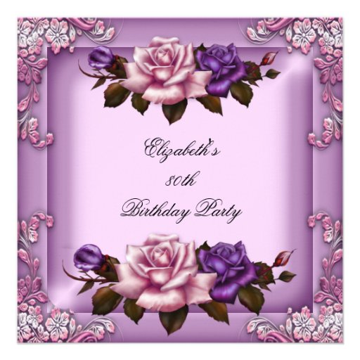 80th Elegant Lilac Pink Purple Roses Birthday Announcements