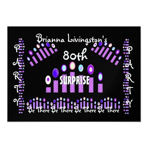 80th SURPRISE Birthday Party Candles Invitation