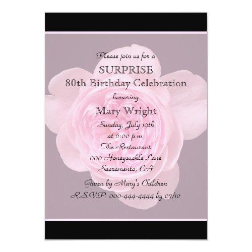 8 80th Surprise Birthday Party Invitation Rose