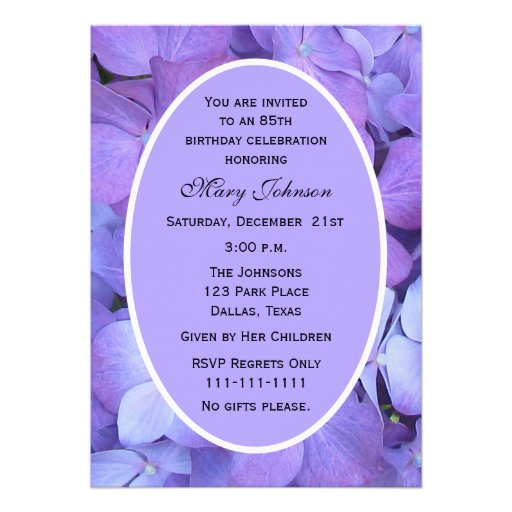 85th Birthday Party Invitation Hydrangea