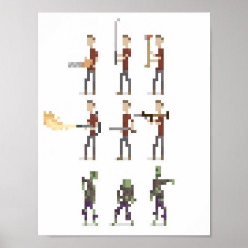 8-Bit Mini Zombie Apocalypse Pixel Art Poster