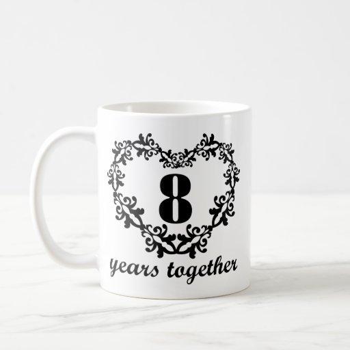 8th Anniversary 8 Years Together Heart Gift Mug