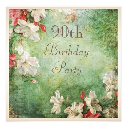 90th Birthday Party Shabby Chic Hibiscus Flowers Custom Announcements