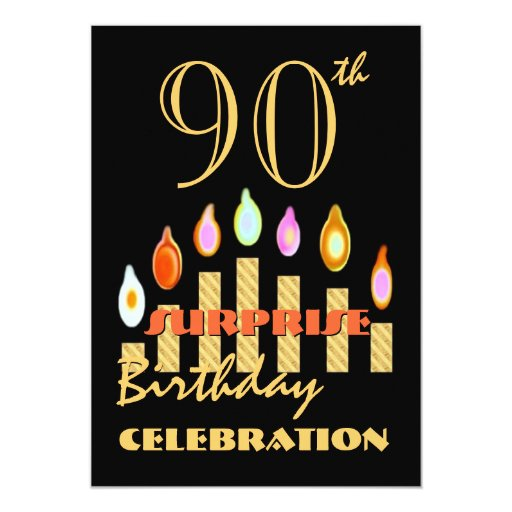90th SURPRISE Birthday Party Gold Candles Invite