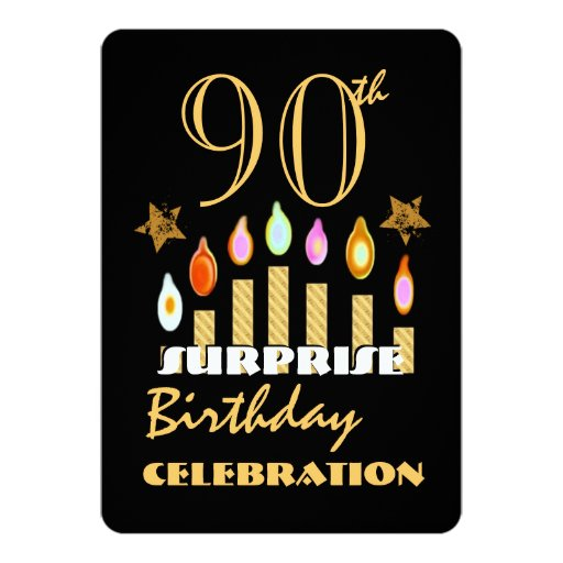 90th SURPRISE Birthday Party Gold Candles Invite 2